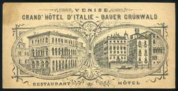 SZÁMOLÓ CÉDULA 1910-20. Cca. Régi Reklám Grafika , Venise Grand Hotel - Vecchi Documenti