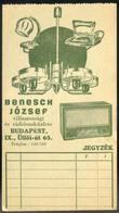 SZÁMOLÓ CÉDULA , Régi Reklám Grafika , Benesch Rádió - Old Paper