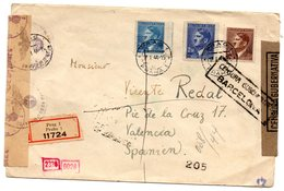 Carta Circulada Con Censura Militar Barcelona  Y Censura Alemana. 1944 - Checoslovaquia