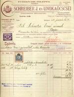 BUDAPEST 1912. Schreiber Üveggyár , Fejléces, Céges Számla  /  Glass Factory  Letterhead Corp. Bill - Vieux Papiers