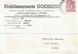 CP Publicitaire LESSINES 1947 - Etablissements GOESSENS - Maroquinerie : Magasins Et Ateliers - Lessines