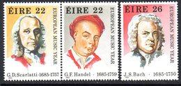 Ireland 1985 European Music Year Composers Set Of 3, MNH, SG 615/7 - 1949-... République D'Irlande