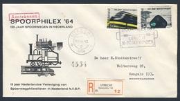 Nederland Netherlands Pays Bas 1964 Cover Brief + Mi 824 /5 - SPOORPHILEX 64 - Ned. Spoorwegen - Aantekenen / Eisenbahn - Treinen