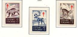 PIA - FINLANDIA  - 1957 : Pro Tubercolotici - Animali Selvatici - (Yv 458-60) - Malattie