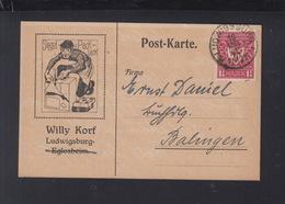 Dt. Reich PK Siegel- U. Packlack Ludwigsburg 1922 Gelaufen - Deutschland