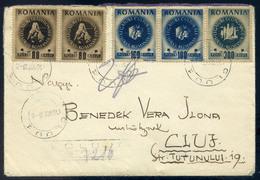 ROMÁNIA 1946. KOLOZSVÁR Helyi Ajánlott Levél, Ritka Inflációs Bérmentesítéssel  /  ROMANIA 1946 KOLOZSVÁR Local Reg. Let - Roumanie