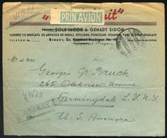 ROMÁNIA 1947. Ajánlott, Inflációs Légi Levél Az USA-ba  /  ROMANIA 1947 Reg. Infla. Airmail Letter To USA - Roumanie