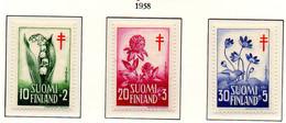 PIA - FINLANDIA  - 1958 : Pro Croce Rossa - Fiori - (Yv 472-74) - Primo Soccorso