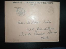 LETTRE MAIRIE OBL. Tiretée 13-10 1966 ANNAY S/ SEREIN YONNE (89) - Marcophilie (Lettres)
