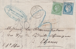 France Lettre Fontainebleau Pour Thann 1872 - Postmark Collection (Covers)