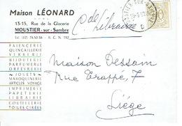 CP Publicitaire MOUSTIER-SUR-SAMBRE 1959 - Maison LEONARD - Imprimerie - Papeterie - Librairie - Faiencerie - Jemeppe-sur-Sambre