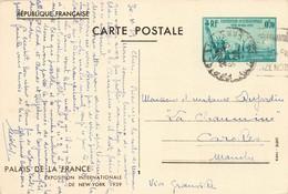 Entier Postal 1939 Exposition Internationale De New York Palais De La France + Cachet , N°426 Cp1 - Entiers Postaux