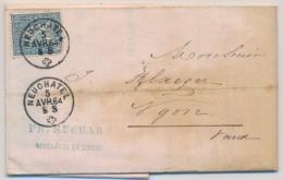 Zumstein 31 / Michel 23 Auf  Brief, Gelaufen Ab NEUCHATEL Nach NYON Mit Inhalt: Briefkopf  SUCHARD CHOCOLAT - 1862-1881 Helvetia Assise (dentelés)