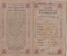 Carte Individuelle D'Alimentation  De 1918, Sucre 1920.;avec Queques Coupons Département De La Seine. 2 Scans - Maps