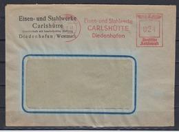 II.WK Lothringen Eisen- Und Stahlwerke Carlshütte Diedenhofen/Westmark 30.2.43 Roter Absenderfrei-o Auf Firmenbrief - Occupation 1938-45