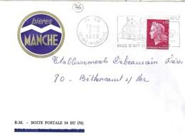 """76 - SEINE MARITIME - EU - ENTETE """"BIERES MANCHE"""" - Cachets Manuels"""