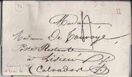 76 - SEINE MARITIME - 74 / LE HAVRE - CURSIVE ROUGE + TAXE 4  De 1825 - Cachets Manuels