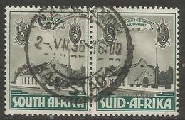 South Africa - 1933 Voortrekker Memorial Fund 1/2d+1/2d Bilingual Pair Very Fine Used    SG 50  Sc B1 - South Africa (...-1961)