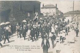 SAINT CLAIR SUR EPTE - CARTE PHOTO - N° 17 - FETE DU MILLENAIRE NORMAND 8 JUIN 1911 - DEFILE DES NORWEGIENS DANS LES RUE - Autres Communes