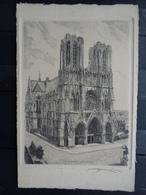 REIMS : GRAVURE SIGNEE DE LA CATHEDRALE - Reims