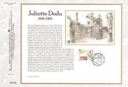 """"""" JULIETTE DODU """" Sur Feuillet CEF N°té En SOIE De 2009 N° 2029s. N° YT 4401. Parfait état FDC - FDC"""