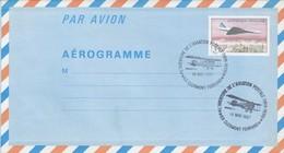 FRANCE - AEROGRAMME 3.70 CONCORDE SURVOLANT PARIS- CACHET L'AVENTURE AVIATION POSTALE 19.5.1987 CLERMONT FERRAND 63  / 1 - Ganzsachen