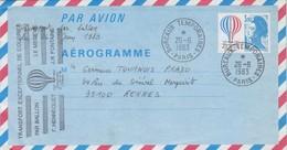FRANCE - AEROGRAMME 3.10 BICENTENAIRE AIR ESPACE -CACHET BUREAUX TEMPORAIRES PARIS 26.6.1983- TRANSPORT BALLON / 1 - Aerogrammi