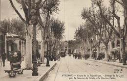 CARTE POSTALE ORIGINALE ANCIENNE :  AVIGNON LE COUR DE LA REPUBLIQUE AVENUE DE LA GARE CINEMA PATHE ANIMEE VAUCLUSE (84) - Avignon
