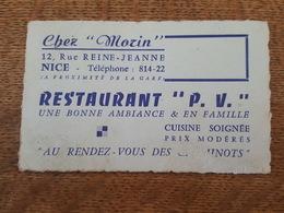 """Nice - Chez """"Morin"""" 12, Rue Reine Jeanne, Restaurant """"P.V."""", Cuisine Soignée """"Au Rendez Vous Des Cheminots"""" - Cartes De Visite"""
