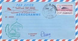 FRANCE - AEROGRAMME 3.10 CONCORDE - VOL INAUGURAL CLERMONT-FD CASABLANCA - 20.5.1983 AULNAT- SIGNATURE COMdt PLISSON / 2 - Biglietto Postale