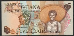 GHANA P15e 5 CEDIS 4.7.1977 #W/1  AU-UNC. - Ghana