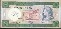SYRIA P104d 100 POUNDS 1990 VF Writings - Siria