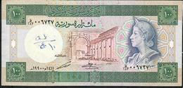 SYRIA P104d 100 POUNDS 1990 VF Writings - Syria