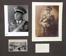 Militaria Lotto 2 Autografi E 2 Foto Generale Guido Bruni Alta Uniforme - 1939 - Autografi