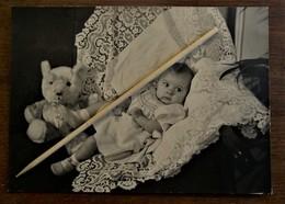 Oude Stevige Foto Met Baby In Kantenkussen En Teddybeer - Birth & Baptism