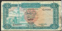 LIBYA P35b 1 DINAR 1972 With Inscription #1 C/27 Sign.1 VG - Libya
