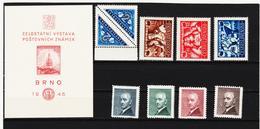Post316 TSCHECHOSLOWAKEI CSSR 1946 MICHL 504/11 + Block 9 ** Postfrisch SIEHE ABBILDUNG - Tschechoslowakei/CSSR
