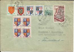 Lettre De 1956 , Enveloppe  Avec 10 Timbres , Postée De MULHOUSE ( France ) Pour L' ALLEMAGNE - France