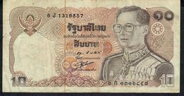 THAILAND P87d 10 BAHT 1980 #6J Signature 55 VF NO P.h. - Thailand