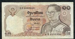 THAILAND P87b 10 BAHT 1980 #3C Signature 53 VF NO P.h. - Tailandia