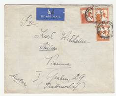 Palestine Air Mail Letter Cover Travelled 1937 Jerusalem To Wien B190510 - Palestine