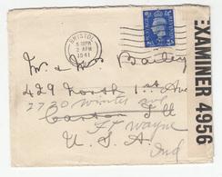 GVI Letter Cover Travelled 1941 Bristol To USA - Censored Examiner 4956 B190510 - 1902-1951 (Re)