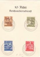 """III. Reich, Blatt """" 10 Jahre Reichsarbeitsdienst """", Stempel: Wien1. Tagung Des Ausschusses Für Fernmeldedienst - Briefe U. Dokumente"""