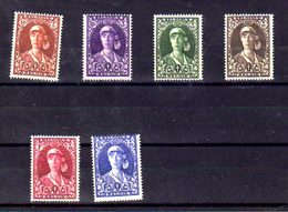1931  Belgique ,Reine Elisabeth, Série Courte 326 / 331* (pas 332), Cote 20 €, - Variétés (Catalogue COB)