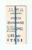 BIGL--00060-- BIGLIETTO FERROVIE DELLO STATO-ANDATA E RITORNO ORDINARIO- ARCORE-MONZA-  08-9-1982 - Europa