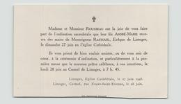 Carton D'invitation Pour Ordination Sacerdotale Du 27 Juin 1948 à Limoges - Vieux Papiers