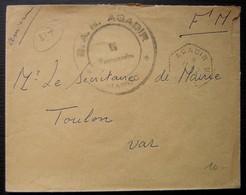Maroc B.A.N Agadir, Cachet Militaire Plus Cachet Tireté Hexagonal Agadir . B Sur Lettre En Franchise Pour Toulon - Marocco (1891-1956)