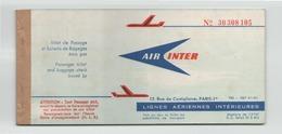 """Billet De Passage """"Air Inter """" Lignes Intérieures Du 12 Avril 1967 De Nantes à Nantes - Titres De Transport"""