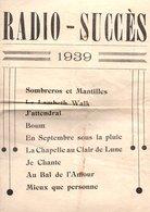 PARTITION RADIO-SUCCES 1939 9 CHANSONS - Partitions Musicales Anciennes