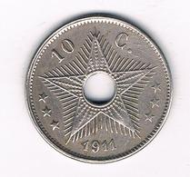 10 CENTIMES 1911 BELGISCH CONGO /3969/ - 1910-1934: Albert I.